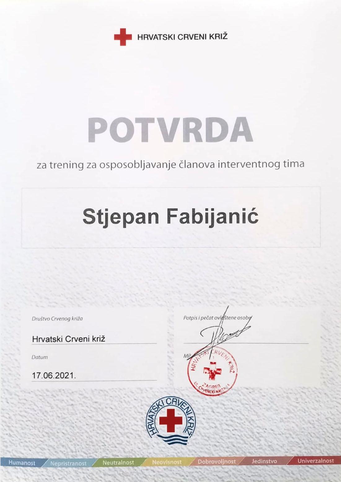 Stjepan Fabijanić postao član Interventnog tima HCK